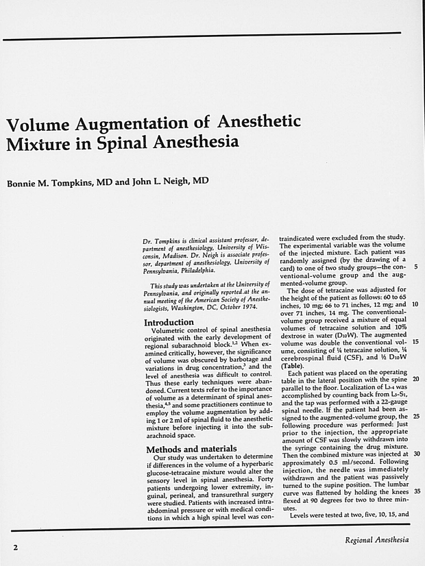 Volume Augmentation of Anesthetic Mixture in Spinal