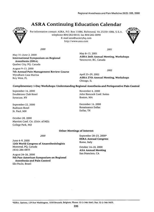 ASRA Continuing Education Calendar | Regional Anesthesia