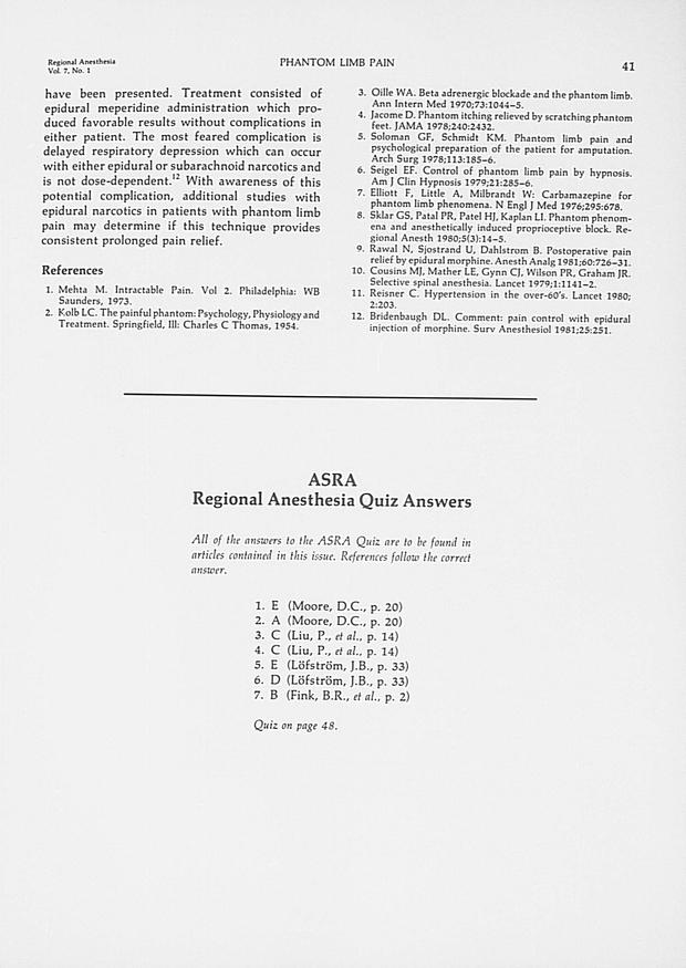 ASRA Regional Anesthesia Quiz Answers   Regional Anesthesia